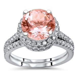 White Gold 2 1/10ct TGW Round-cut Morganite Diamond Engagement Ring Bridal Set - Custom Made By Yaffie™