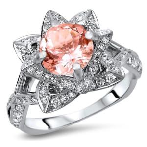 White Gold 2 1/3ct TGW Round-cut Morganite Diamond Lotus Flower Engagement Ring - Custom Made By Yaffie™