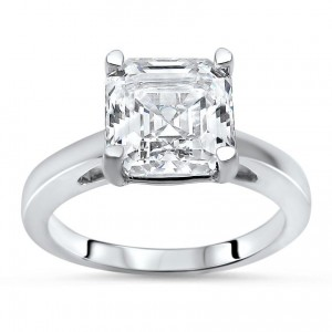 White Gold 2 2/5ct TGW Asscher-cut Moissanite Solitaire Engagement Ring - Custom Made By Yaffie™