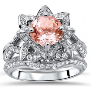White Gold 2 3/4ct TGW Round-cut Morganite Diamond Lotus Flower Engagement Ring Bridal Set - Custom Made By Yaffie™
