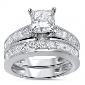 White Gold 2 3/5 ct TDW Princess Clarity Enhanced Diamond Bridal Set - Custom Made By Yaffie™