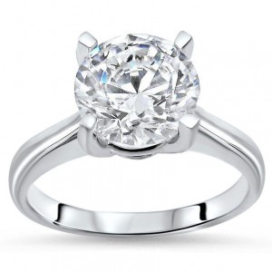 White Gold 2 7/8ct TGW Round Moissanite Solitaire Engagement Ring - Custom Made By Yaffie™