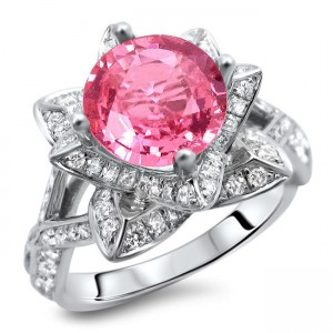 White Gold 2ct Round Pink Sapphire and Diamond Lotus Flower Ring - Custom Made By Yaffie™