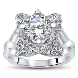 White Gold 2ct TGW Round Moissanite Lotus Flower and 2/5ct TDW Diamond Engagement Ring - Custom Made By Yaffie™