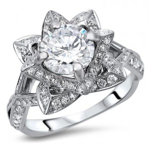White Gold 2ct TGW Round Moissanite Lotus Flower and 5/8ct TDW Diamond Engagement Ring - Custom Made By Yaffie™