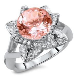 White Gold 2ct TGW Round-cut Morganite Diamond Lotus Flower Engagement Ring - Custom Made By Yaffie™