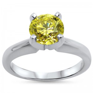White Gold 3/4ct Round Yellow Canary Diamond Solitaire Engagement Ring - Custom Made By Yaffie™