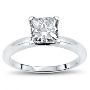 White Gold 3/4ct TDW Princess Cut Solitaire Diamond Engagement Ring - Custom Made By Yaffie™