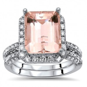White Gold 4 1/3ct TGW Emerald-cut Morganite and Diamond Engagement Ring Set - Custom Made By Yaffie™