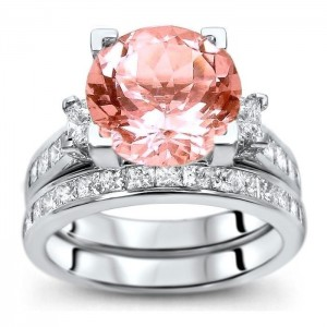 White Gold 4 3/4 ct TGW Round-cut Morganite Diamond Engagement Ring Bridal Set - Custom Made By Yaffie™