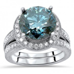 White Gold 4 3/4ct TDW Blue Round Diamond Engagement Ring Set - Custom Made By Yaffie™