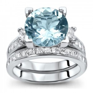 White Gold 4 3/4ct TGW Round-cut Aquamarine Diamond Engagement Ring Bridal Set - Custom Made By Yaffie™