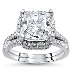 White Gold Cushion-cut Moissanite and 1/2ct TDW Diamond Bridal Set - Custom Made By Yaffie™