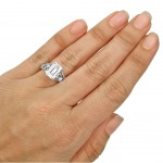 White Gold Emerald-cut Moissanite and 1/6ct TDW Diamond Engagement Ring - Custom Made By Yaffie™