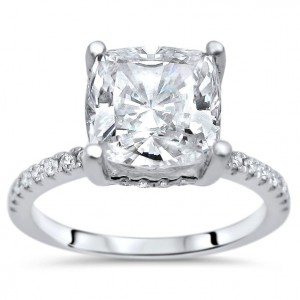 White Gold Moissanite and 1/4ct TDW White Diamond Engagement Ring - Custom Made By Yaffie™
