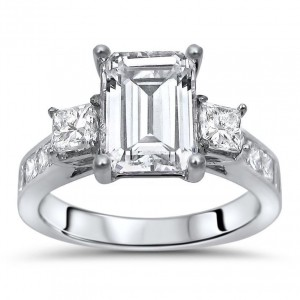 White Gold Moissanite and 1ct TDW White Diamond Engagement Ring - Custom Made By Yaffie™