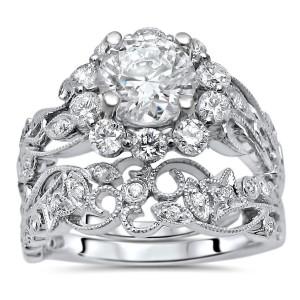 White Gold Moissanite and 3/4ct TDW Flower Diamond Engagement Ring Set - Custom Made By Yaffie™