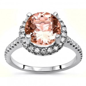 White Gold Morganite and 1/3ct TDW Diamond Engagement Ring - Custom Made By Yaffie™