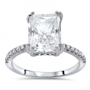 White Gold Radiant Moissanite and 1/3ct TDW Diamond Engagement Ring - Custom Made By Yaffie™