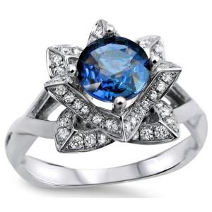 White Gold Round Blue Sapphire 2/5ct TDW Diamond Lotus Flower Engagement Ring - Custom Made By Yaffie™