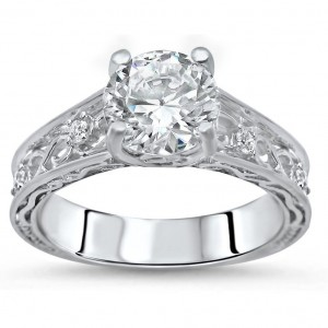 White Gold Round-cut Moissanite and 1/10ct TDW Diamond Engagement Ring - Custom Made By Yaffie™