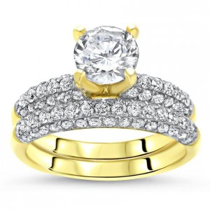 Gold 1ct TGW Round Moissanite and 1 1/5ct TDW Diamond Bridal Ring Set - Custom Made By Yaffie™