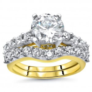 Gold Moissanite and 1ct TDW Diamond Ring Bridal Set - Custom Made By Yaffie™