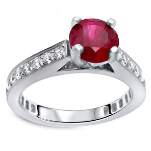 Gold 1ct TGW Round Ruby and 3/5ct TDW Diamond Engagement Ring - Custom Made By Yaffie™