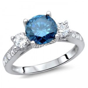 White Gold 1 1/2 ct Blue and White Diamond Engagement Ring - Custom Made By Yaffie™