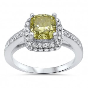 White Gold 1 1/2ct TDW Fancy Yellow Diamond Halo Engagement Ring - Custom Made By Yaffie™