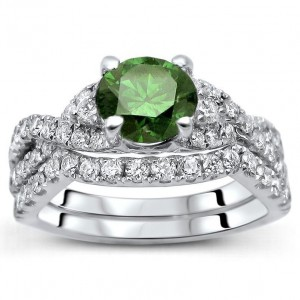 White Gold 1 1/2ct TDW Green and White Diamond Bridal Set - Custom Made By Yaffie™