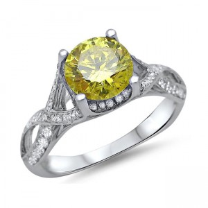 White Gold 1 1/2ct TDW Round Canary Yellow Diamond Engagement Ring - Custom Made By Yaffie™