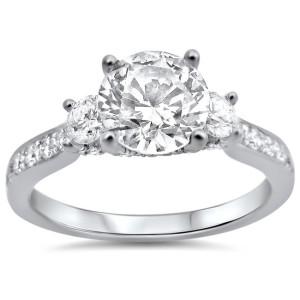 White Gold 1 1/3ct TDW Round Diamond Engagement Ring - Custom Made By Yaffie™