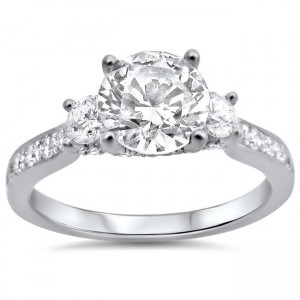 White Gold 1 1/3ct TDW Round Diamond Engagement Ring - Custom Made By Yaffie™