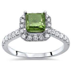 White Gold 1 1/4ct TDW Green Princess Cut Diamond Engagement Ring - Custom Made By Yaffie™