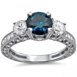 White Gold 1 3/4 ct TDW Blue and White Round Diamond Ring - Custom Made By Yaffie™