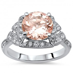 White Gold 1 3/5ct TGW Morganite and 1/2ct TDW Diamond Engagement Ring - Custom Made By Yaffie™