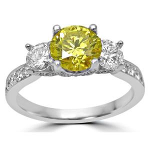White Gold 1 4/5 ct Canary Yellow and White Round Diamond Three-stone Engagement Ring - Custom Made By Yaffie™