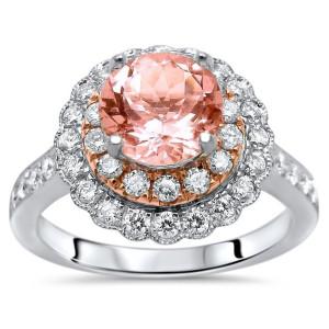 White Gold 1 4/5ct TGW Round-cut Morganite Diamond Engagement Ring - Custom Made By Yaffie™
