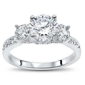 White Gold 1ct TGW Round Moissanite 3 Stone and 4/5ct TDW Diamond Engagement Ring - Custom Made By Yaffie™