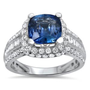 White Gold 2 1/4 Carat TGW Blue Cushion Cut Sapphire Diamond Engagement Ring - Custom Made By Yaffie™
