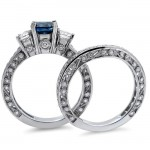 White Gold 2 1/4 ct Blue and White Round Diamond Engagement Ring Bridal Set - Custom Made By Yaffie™