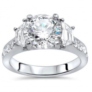 White Gold 2 5/6 Moissanite Trapezoid Diamond 3 Stone Engagement Ring - Custom Made By Yaffie™