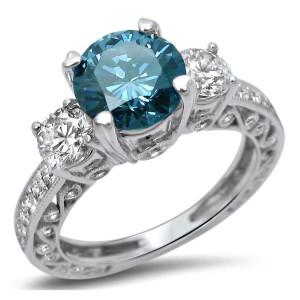 White Gold 2ct Diamond Blue 3-Stone Round Engagement Ring - Custom Made By Yaffie™