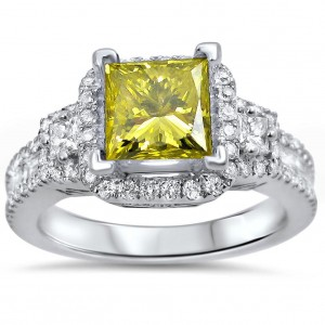 White Gold 2ct TDW Canary Yellow Princess Diamond Engagement Ring - Custom Made By Yaffie™