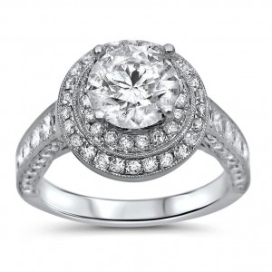 White Gold 2ct TDW Clarity-enhanced Diamond Double Halo Engagement Ring - Custom Made By Yaffie™