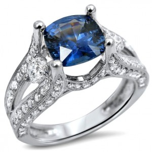 White Gold 2ct TGW Cushion Cut Sapphire 3-stone Diamond Engagement Ring - Custom Made By Yaffie™