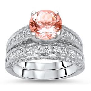 White Gold 3 5/6ct TGW Round-cut Morganite Diamond Engagement Ring Bridal Set - Custom Made By Yaffie™