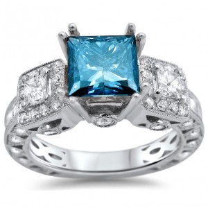 White Gold 3ct TDW Blue Diamond 3-stone Ring - Custom Made By Yaffie™
