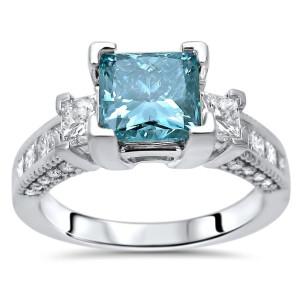 2 1/2 Blue Princess Cut Diamond Engagement White Gold - Custom Made By Yaffie™